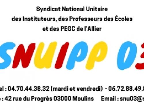 Message du SNUIPP-FSU 03 sur les collègues bloqués dans l'Allier.