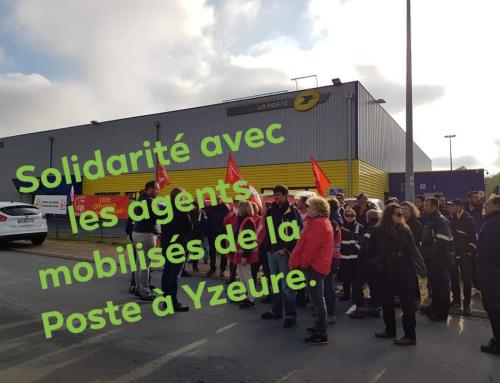 Solidarité avec les postiers d'Yzeure.