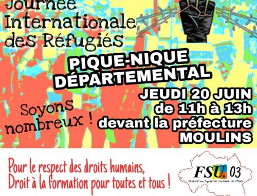 Jeudi 20 juin 11h devant la préfecture, avec les jeunes migrants et réfugiés !